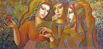 Girl's Party 30x60 Original Painting - Oleg Zhivetin