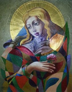 Angel of Roses 51x42 Super Huge Original Painting - Oleg Zhivetin
