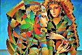 Two Flowers 2011 36x46 Original Painting - Oleg Zhivetin