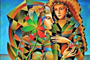 Two Flowers 2011 36x46 Original Painting by Oleg Zhivetin