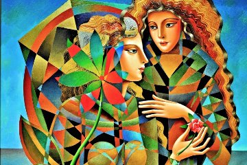Two Flowers 2011 36x46 Original Painting by Oleg Zhivetin