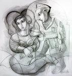 Sailor's Dream Drawing 1999 46x44 Drawing - Oleg Zhivetin