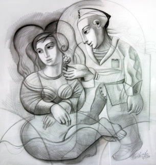 Sailor's Dream Drawing 1999 46x44 Drawing by Oleg Zhivetin