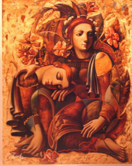Lovers with Flowers AP Embellished Limited Edition Print by Oleg Zhivetin