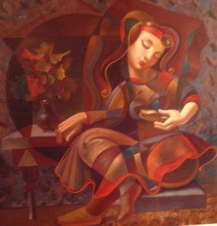 Poem Reader Embellished 1999 Limited Edition Print by Oleg Zhivetin