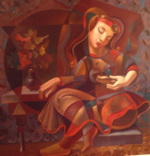 Poem Reader Embellished 1999 Limited Edition Print by Oleg Zhivetin