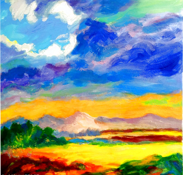 Cloudy Sky 2020 28x28 Original Painting by Memli Zhuri