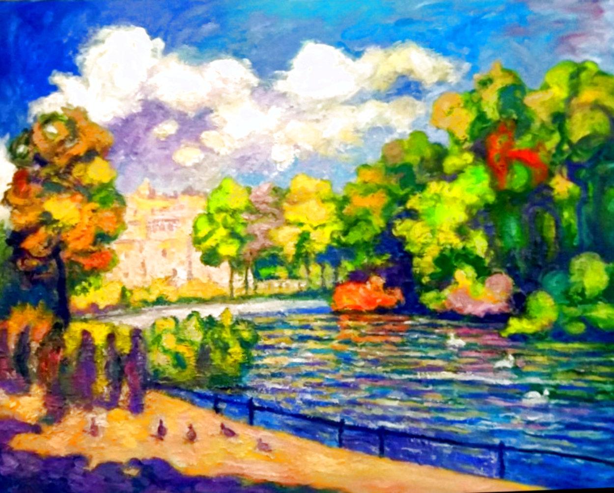 St. James Park Summer Scene 2019 50x40  Super Huge Original Painting by Memli Zhuri