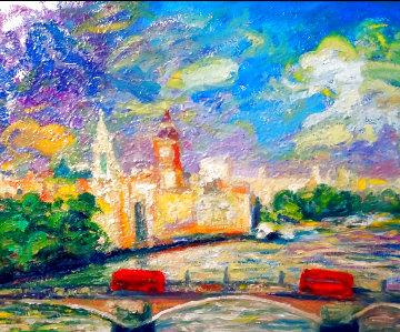 House of Parliament, London 2019 36x30 Original Painting - Memli Zhuri