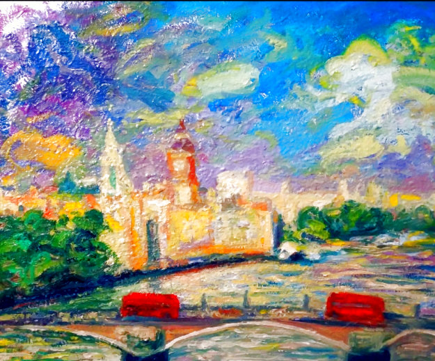 House of Parliament, London 2019 36x30 Original Painting by Memli Zhuri