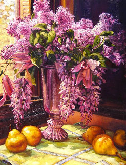 Lilacs and Wisteria 2015 41x33 Original Painting by Caroline Zimmermann