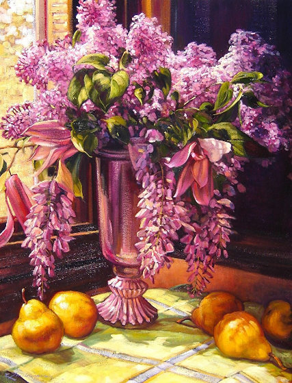Lilacs and Wisteria 2015 41x33 by Caroline Zimmermann