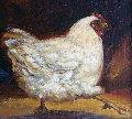 Untitled (Hen) 2008 15x14 Original Painting - Caroline Zimmermann