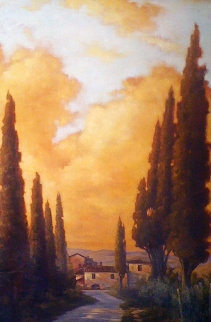 """Tuscany Twilight"" 2007 48x68 Hoge Original Painting - Caroline Zimmermann"