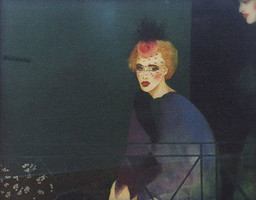Melancholic Lady Watercolor  1983 32x41 Huge Original Painting - Joanna Zjawinska