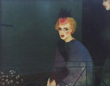 Melancholic Lady Watercolor  1983 32x41 Super Huge Watercolor - Joanna Zjawinska