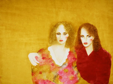 Natalie and She Watercolor 1983 Huge  Watercolor - Joanna Zjawinska
