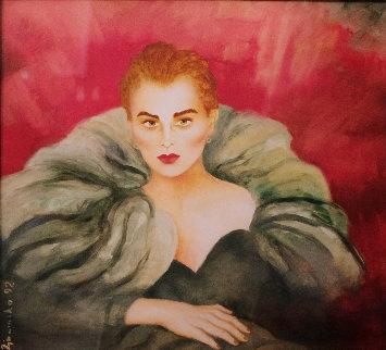 Untitled (Portrait of a Woman) Watercolor 1992 31x34 Huge Watercolor - Joanna Zjawinska