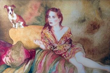Notorious Miss S Watercolor 1991 42x62 Super Huge Watercolor - Joanna Zjawinska