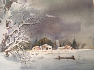 Untitled   (midwest Winter) Watercolor 1992  20x24 Watercolor - Zoltan Szabo