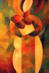 Zhenskaya Figura 1968 18x27 Original Painting - Gennady Zubkov
