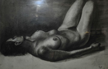 Reclining Female Nude Drawing 1979 Drawing - Francisco Zuniga