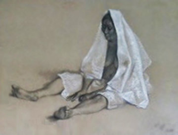 Untitled (Seated Woman with Shawl) 1980 Original Painting - Francisco Zuniga
