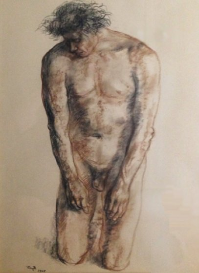 Nude Male Drawing 1965 30x37 Drawing by Francisco Zuniga