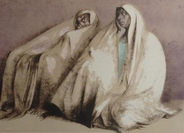 Dos Mujeres Con Rebozos, Sentados 1973 Limited Edition Print - Francisco Zuniga
