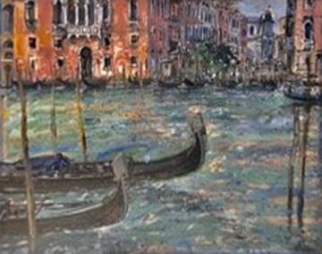 Two Gondolas on Grand Canal 50x42 Original Painting - Bruno Zupan