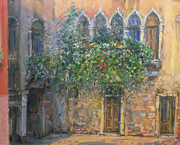 Untitled (Gothic Windows) 1990 39x46 Original Painting - Bruno Zupan