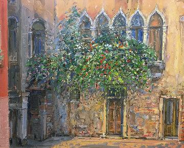 Untitled (Gothic Windows) 1990 39x46 Huge Original Painting - Bruno Zupan
