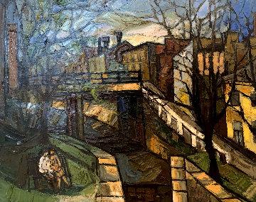 Canal 1965 33x40 Huge Original Painting - Bruno Zupan