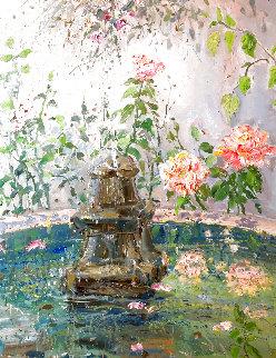 Garden Series: Untitled Fountain in Garden 1976 37x31 Original Painting - Bruno Zupan
