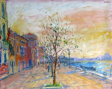 Sunrise Over Zattere 2001 32x39 Original Painting - Bruno Zupan