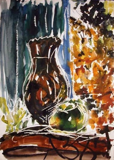 Untitled Watercolor 1984  24x17 Watercolor by Anatoly Zverev