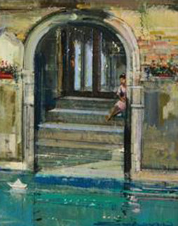 Portal With Paper Boat 2008 22x26 Original Painting by Alex Zwarenstein