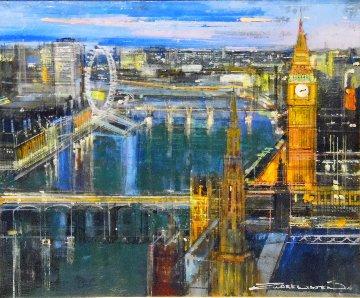 London At Night 2016 26x30 Original Painting - Alex Zwarenstein