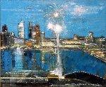 New's Years Eve in Singapore 2016 26x30 Original Painting - Alex Zwarenstein