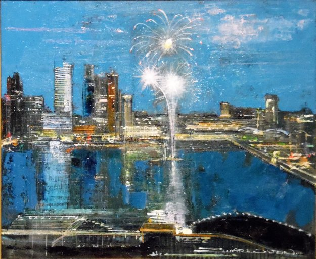 New's Years Eve in Singapore 2016 26x30 Original Painting by Alex Zwarenstein