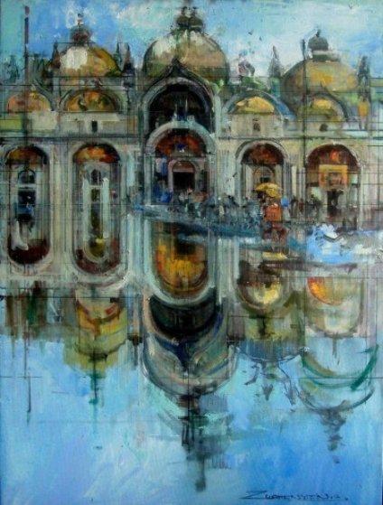 Piazza San Marco, Italy 2014 Original Painting by Alex Zwarenstein