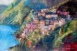 Houses in Amalfi 2014 24x36  (Italy) Original Painting - Alex Zwarenstein
