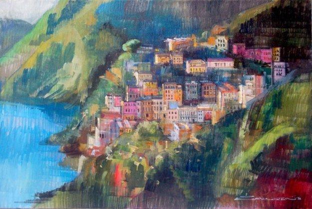 Houses in Amalfi 2014 24x36  (Italy) Original Painting by Alex Zwarenstein
