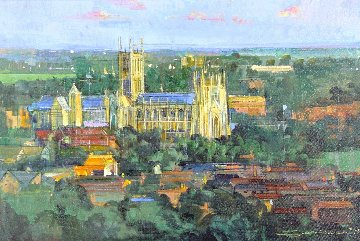 Canterbury Cathedral 2014 33x45 England Original Painting by Alex Zwarenstein