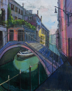 Summer Colors in Venice 30x24 Original Painting - Alex Zwarenstein