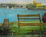 Sailboats 16x20 Original Painting - Alex Zwarenstein