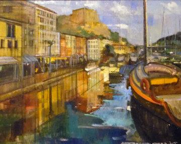Fazzio, Corsica 24x30 Original Painting - Alex Zwarenstein